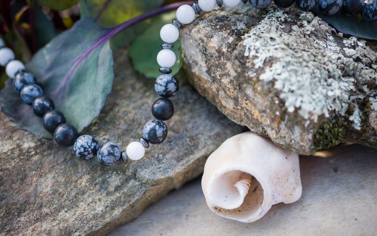 Snowflake Obsidian, white Jade, Hematite