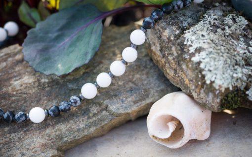 White Jade, Snowflake Obsidian, Hematite