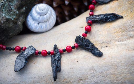 Black Tourmaline, black Onyx, red Coral